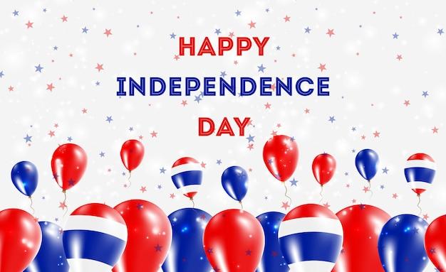 Design patriótico do dia da independência da tailândia. balões em cores nacionais tailandesas. cartão de vetor feliz dia da independência.