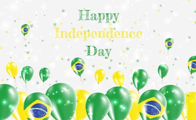 Design patriótico do dia da independência do brasil. balões com as cores nacionais brasileiras. cartão de vetor feliz dia da independência.