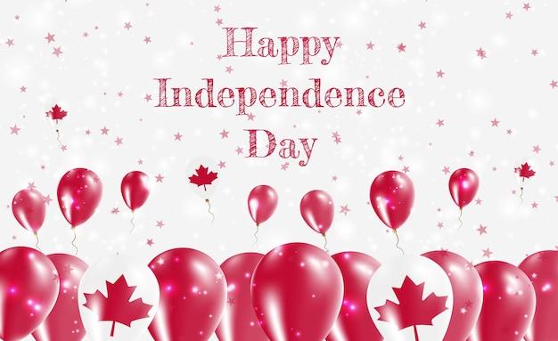 Design patriótico do dia da independência do canadá. balões em cores nacionais canadenses. cartão de vetor feliz dia da independência.