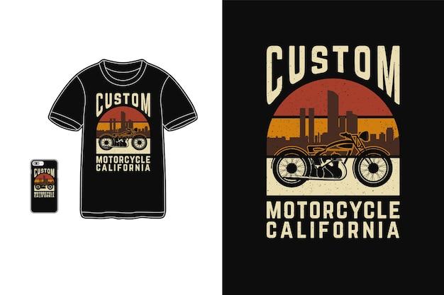 Design personalizado de motocicleta da califórnia para camiseta estilo retro de silhueta