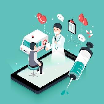 Design plano 3d isométrico conceito de telemedicina com dispositivo