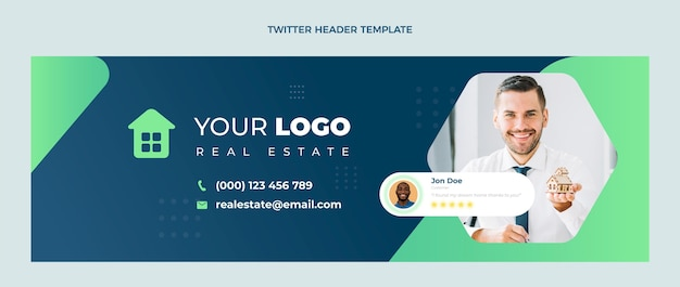 Design plano abstrato geométrico imobiliário cabeçalho do twitter