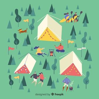 Design plano acampar pessoas ilustradas