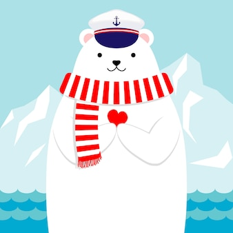 Design plano, adorável urso polar náutico