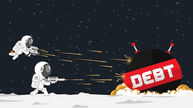 Design plano, astronautas atacam a nave espacial da dívida no conceito financeiro, ilustração vetorial, elemento de infográfico