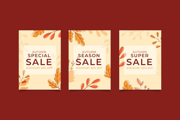 Design plano banner de venda de outono