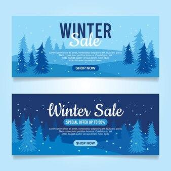 Design plano banners de venda de inverno