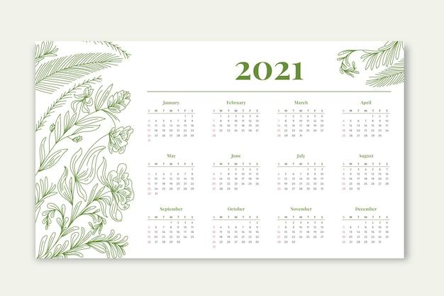 Design plano calendário de ano novo de 2021