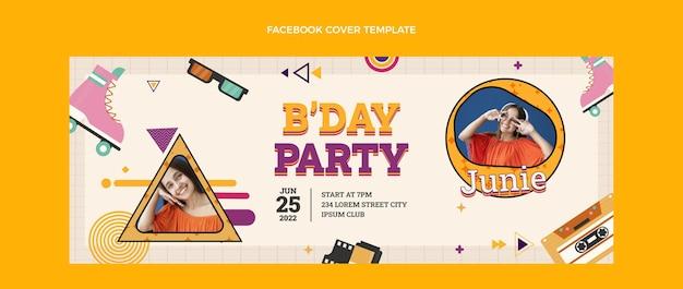 Design plano capa nostálgica do facebook do aniversário dos anos 90