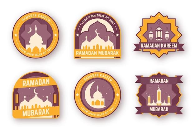 Design plano coleção de rótulo de ramadan