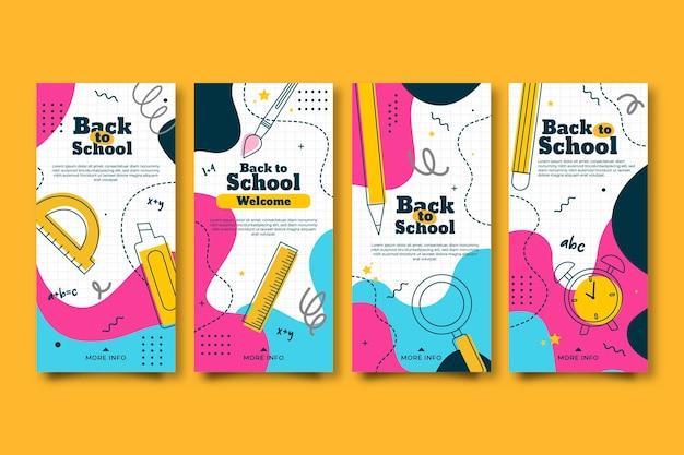 Design plano colorido de volta às histórias do instagram de escola
