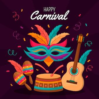 Design plano com elementos coloridos de carnaval