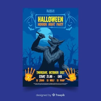 Design plano com lobisomem cartaz de festa de halloween