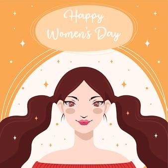 Design plano com o conceito de feliz dia da mulher na mão desenho
