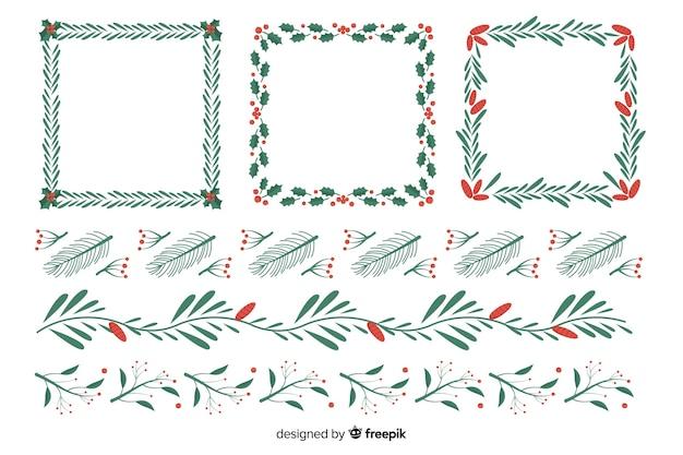 Design plano conjunto de molduras de natal e bordas