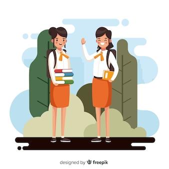 Design plano crianças de volta à escola
