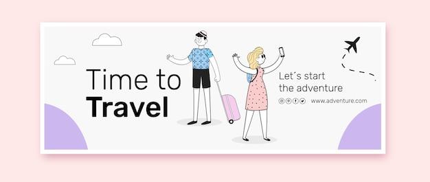 Design plano da capa do facebook de viagens