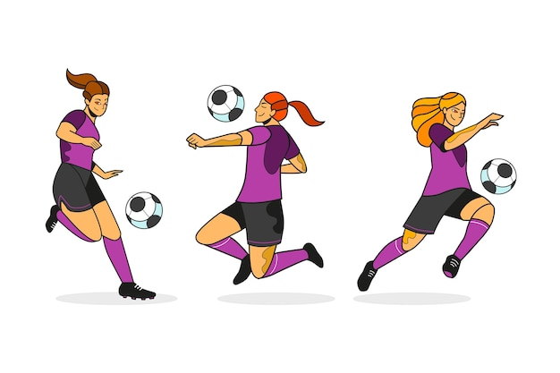 Design plano da coleção de jogadores de futebol