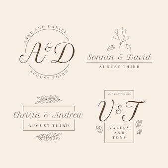 Design plano da coleção de logotipos de casamento