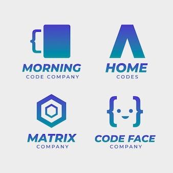 Design plano da coleção do logotipo do código
