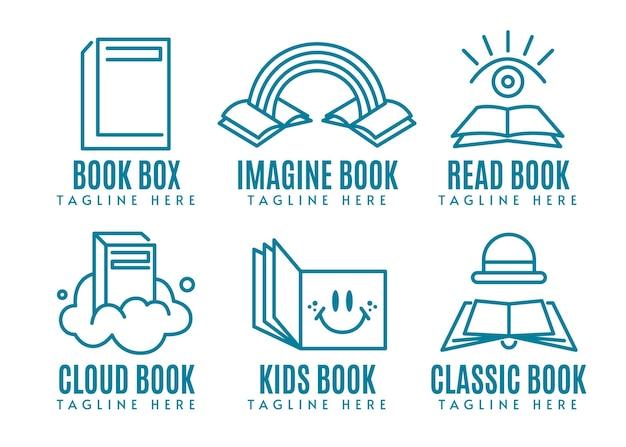 Design plano da coleção do logotipo do livro