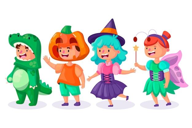 Design plano da coleção infantil de halloween