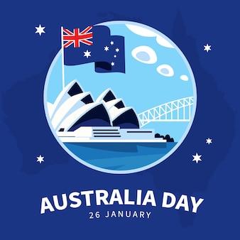 Design plano da ilustração da ponte do dia da austrália