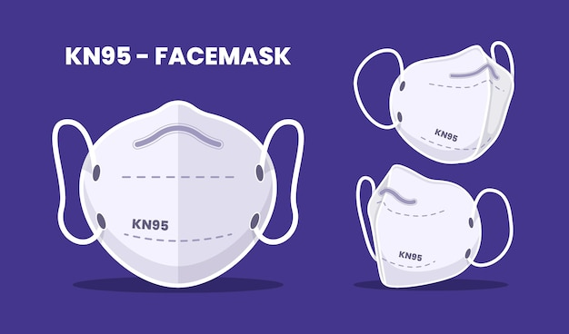 Design plano da máscara facial kn95 em diferentes perspectivas
