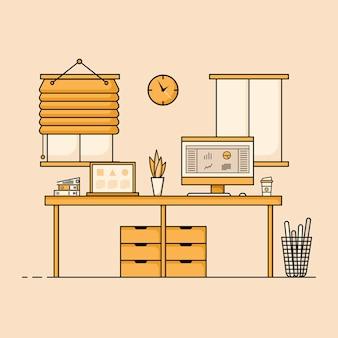 Design plano da mesa de trabalho conceito de interior da mesa de trabalho com móveis sala de trabalho com computador, mesa, mesa, cadeira, livro e equipamento estacionário