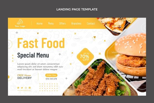 Design plano da página de destino de alimentos