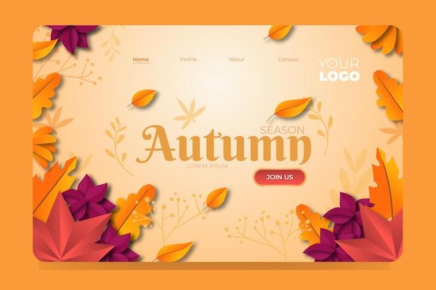 Design plano da página de destino de outono