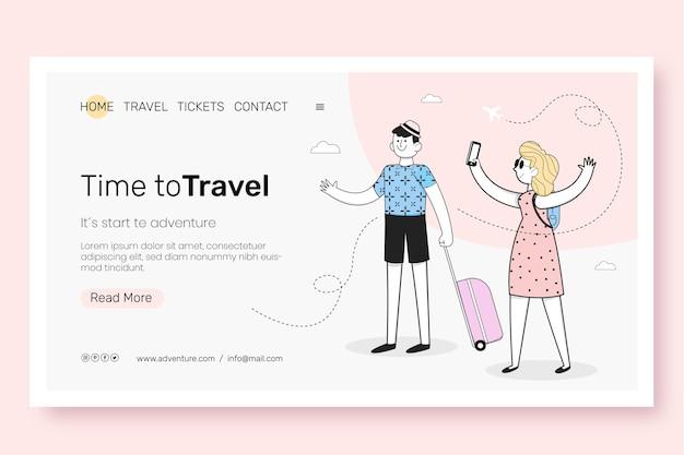 Design plano da página de destino de viagens