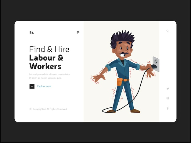 Design plano da página do site localizar e contratar mão de obra e trabalhadores