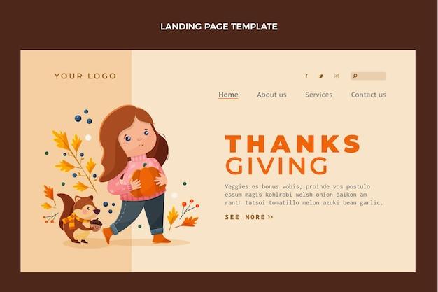 Design plano da página inicial do dia de ação de graças