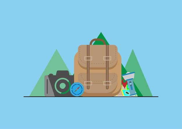 Design plano de acessórios de viagens ou férias. ilustração vetorial