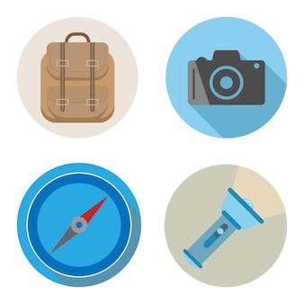 Design plano de acessórios de viagens ou férias