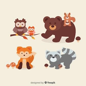 Design plano de animais da floresta outono
