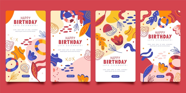 Design plano de aniversário de histórias insta