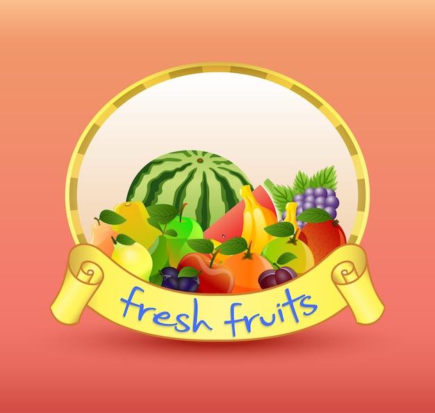 Design plano de banner de frutas frescas
