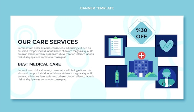 Design plano de banner de venda médica