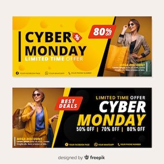 Design plano de banners de cyber segunda-feira com foto