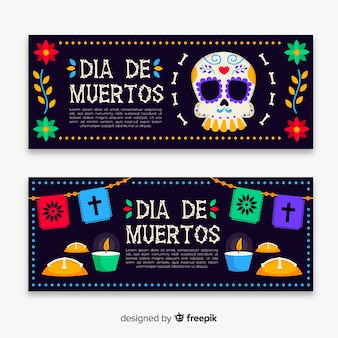 Design plano de banners de dia de muertos