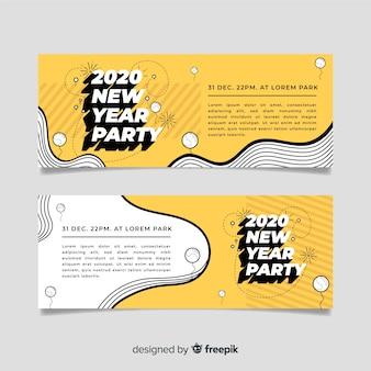 Design plano de banners de festa do ano novo 2020