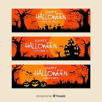 Design plano de banners de halloween laranja
