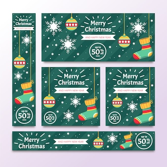 Design plano de banners de natal