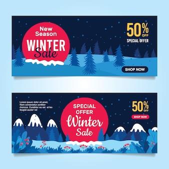 Design plano de banners de venda de inverno