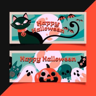 Design plano de banners horizontais de halloween