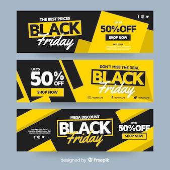 Design plano de banners pretos de sexta-feira