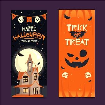 Design plano de banners verticais de halloween