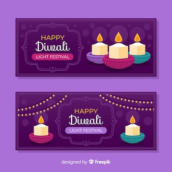 Design plano de banners web de diwali